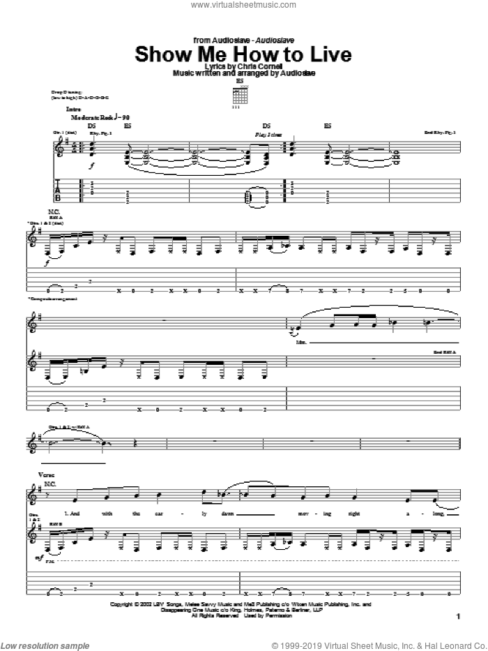 Show Me How To Live sheet music for guitar (tablature) by Audioslave and Chris Cornell, intermediate. Score Image Preview.