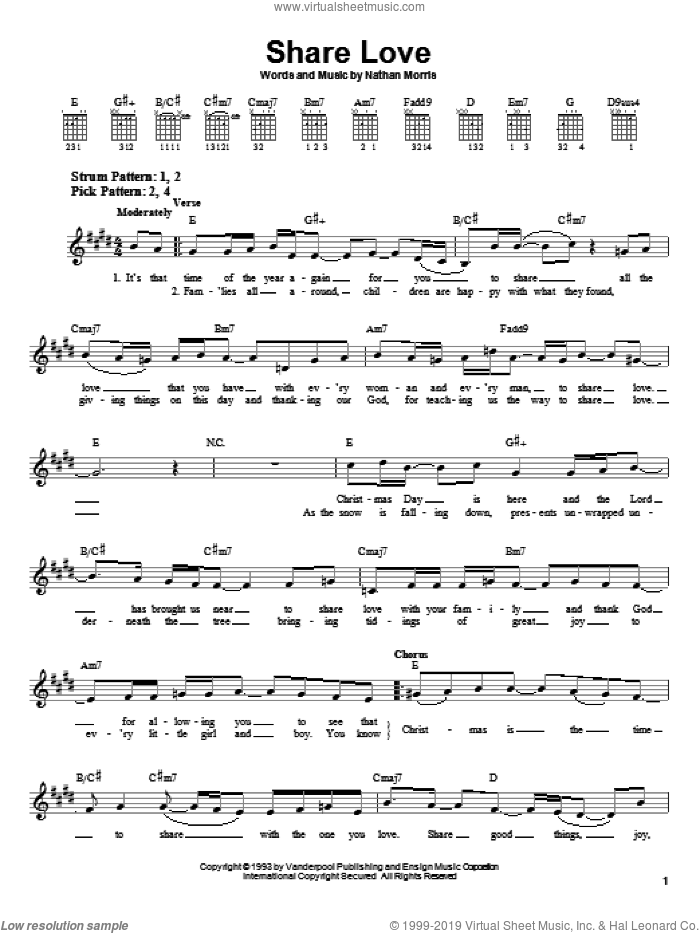 Share Love sheet music for guitar solo (chords) by Boyz II Men, Christmas carol score, easy guitar (chords). Score Image Preview.