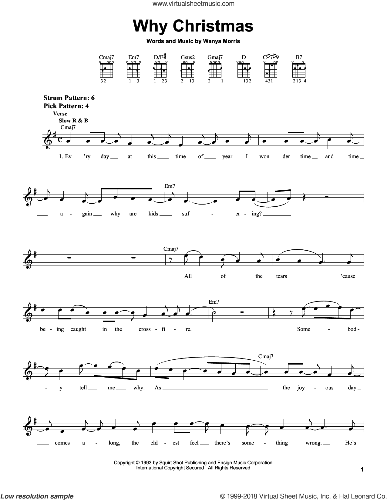 Why Christmas sheet music for guitar solo (chords) by Boyz II Men and Wanya Morris, easy guitar (chords)