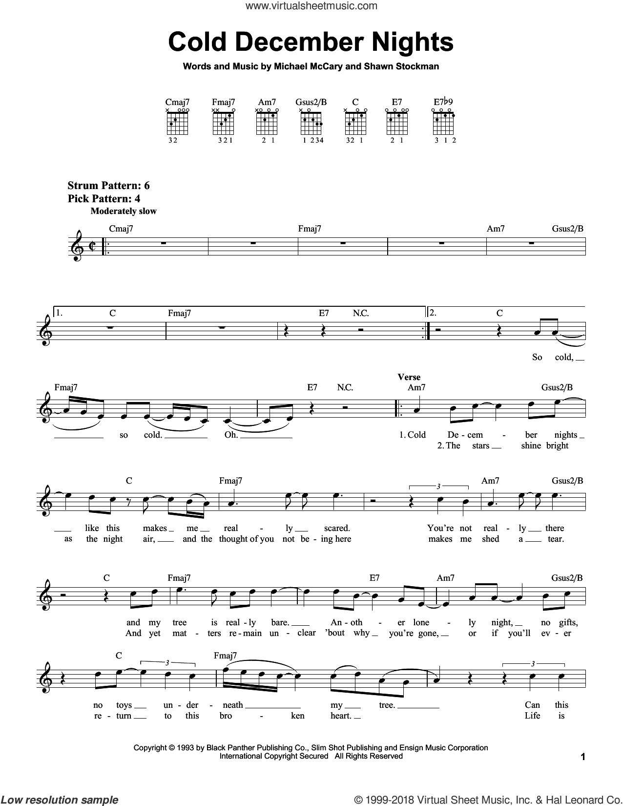 Cold December Nights sheet music for guitar solo (chords) by Shawn Stockman and Boyz II Men. Score Image Preview.