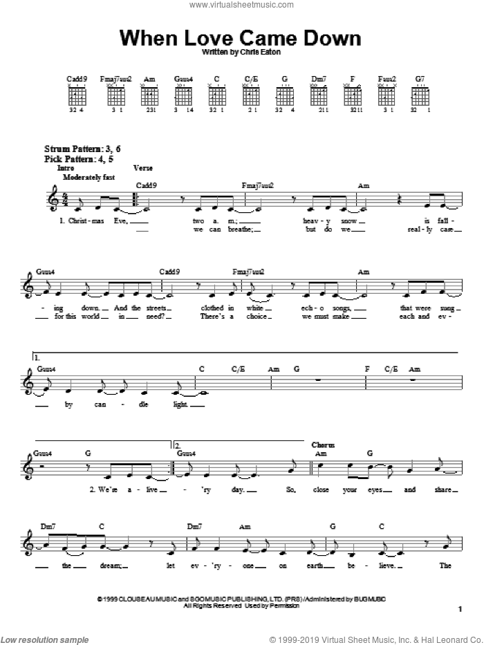 When Love Came Down sheet music for guitar solo (chords) by Point Of Grace and Chris Eaton, easy guitar (chords)
