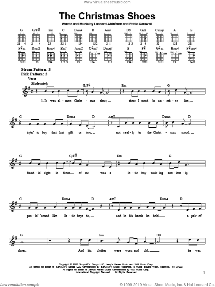 The Christmas Shoes sheet music for guitar solo (chords) by 3 Of Hearts, Eddie Carswell and Leonard Ahlstrom, easy guitar (chords)