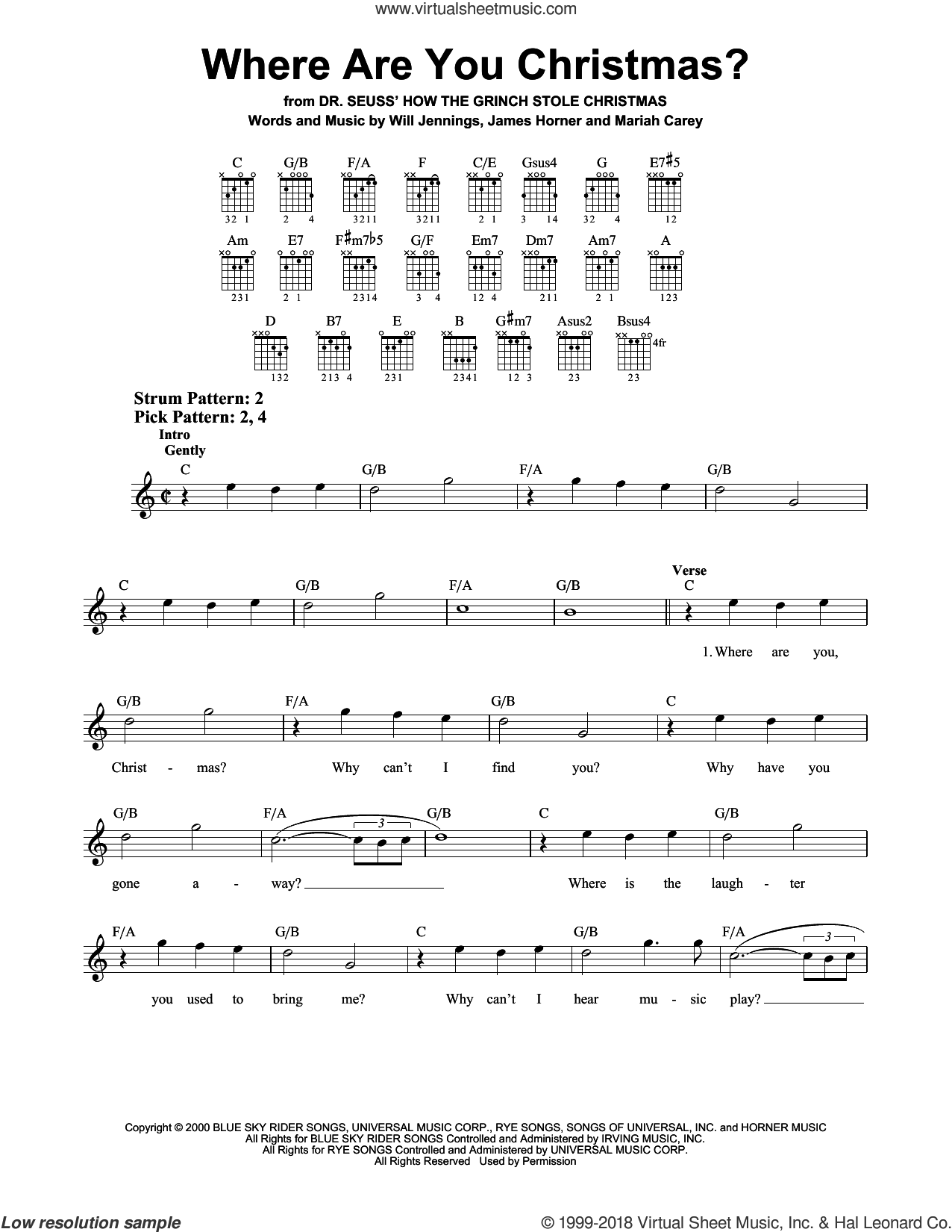 Where Are You Christmas? sheet music for guitar solo (chords) by Will Jennings, Faith Hill, James Horner and Mariah Carey. Score Image Preview.