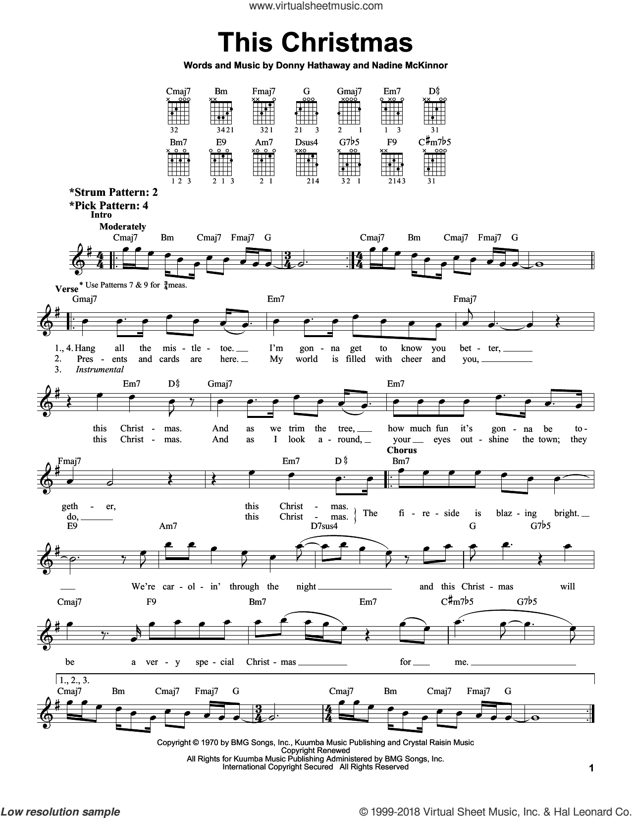 This Christmas sheet music for guitar solo (chords) by Donny Hathaway and Nadine McKinnor, easy guitar (chords)