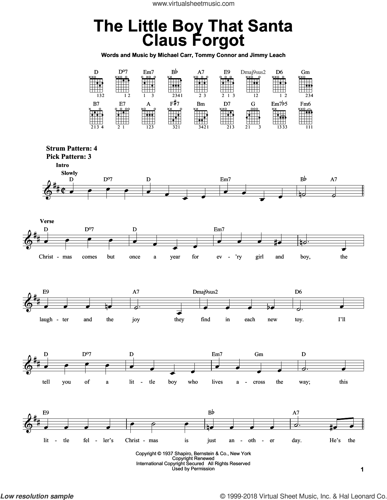 The Little Boy That Santa Claus Forgot sheet music for guitar solo (chords) by Michael Carr, Jimmy Leach and Tommie Connor, easy guitar (chords)