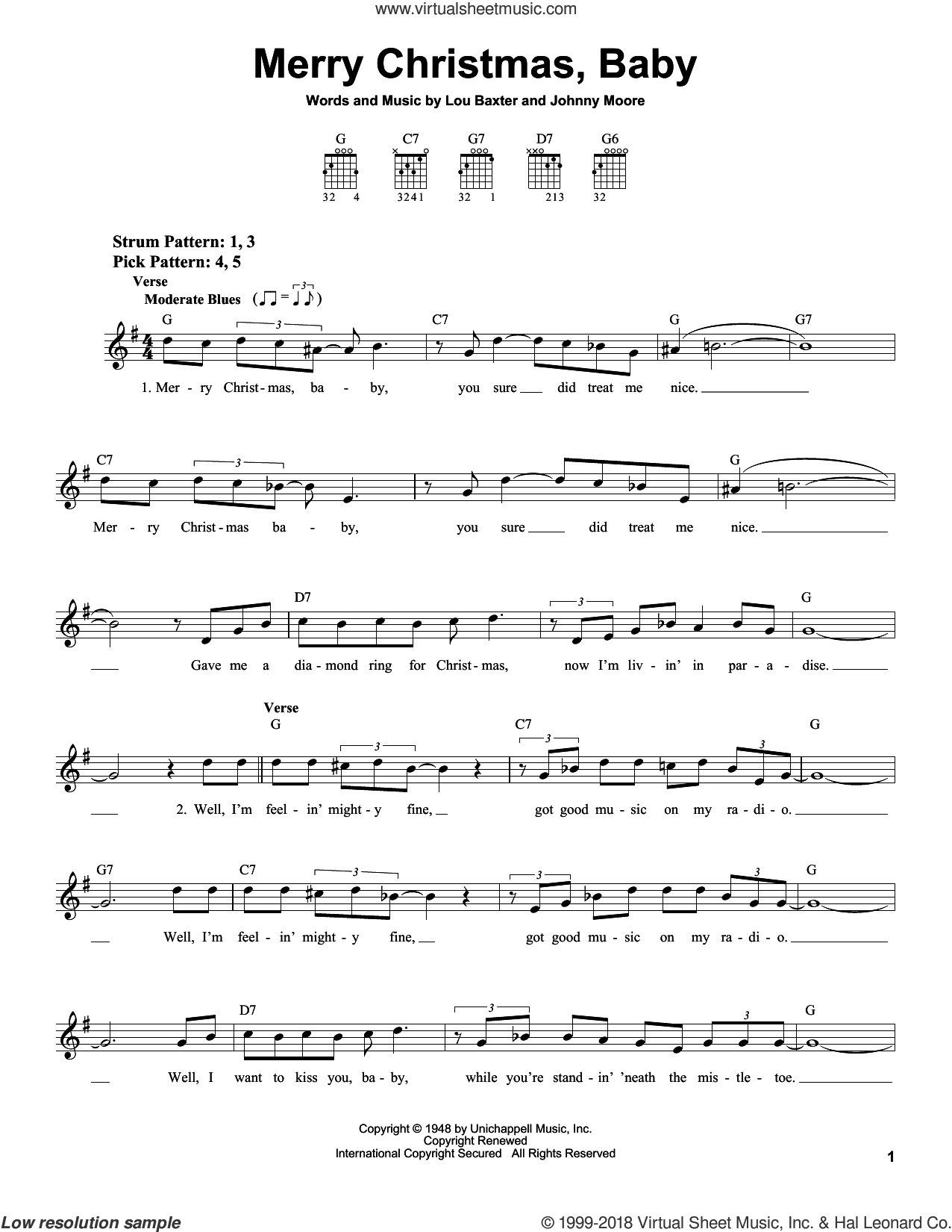 Merry Christmas, Baby sheet music for guitar solo (chords) by Elvis Presley, Johnny Moore and Lou Baxter, easy guitar (chords)