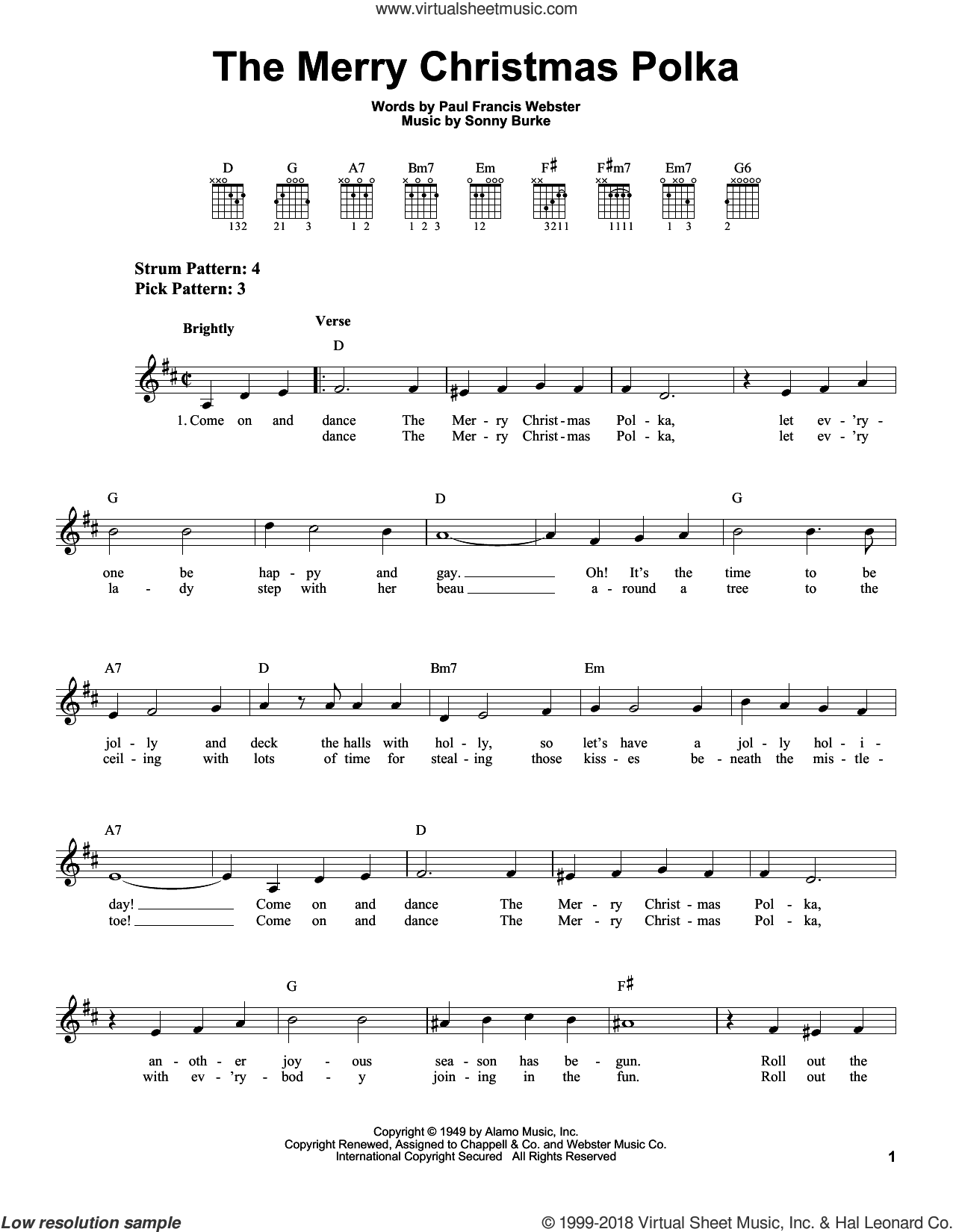 The Merry Christmas Polka sheet music for guitar solo (chords) by Sonny Burke and Paul Francis Webster. Score Image Preview.