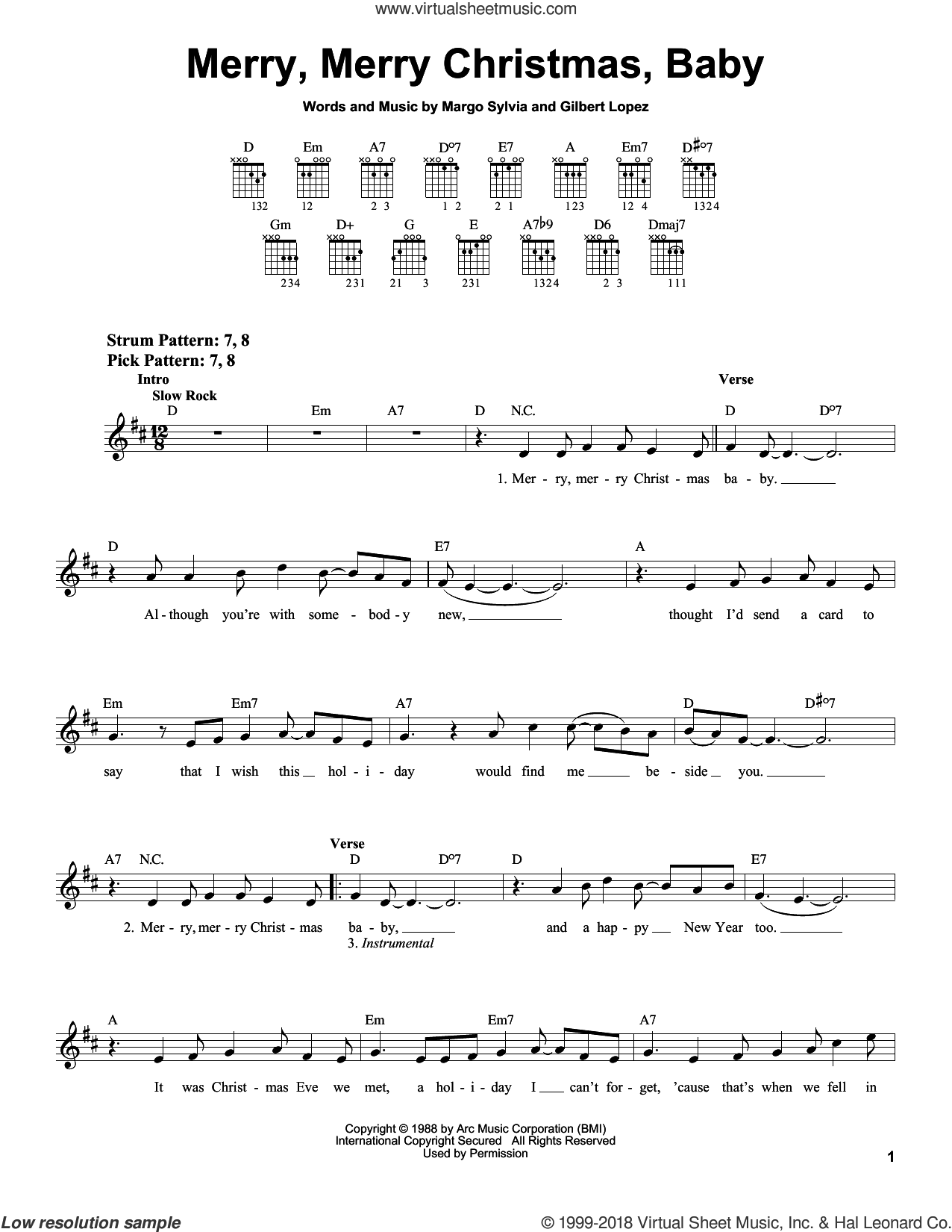 Merry, Merry Christmas, Baby sheet music for guitar solo (chords) by Margo Sylvia and Gilbert Lopez, easy guitar (chords)