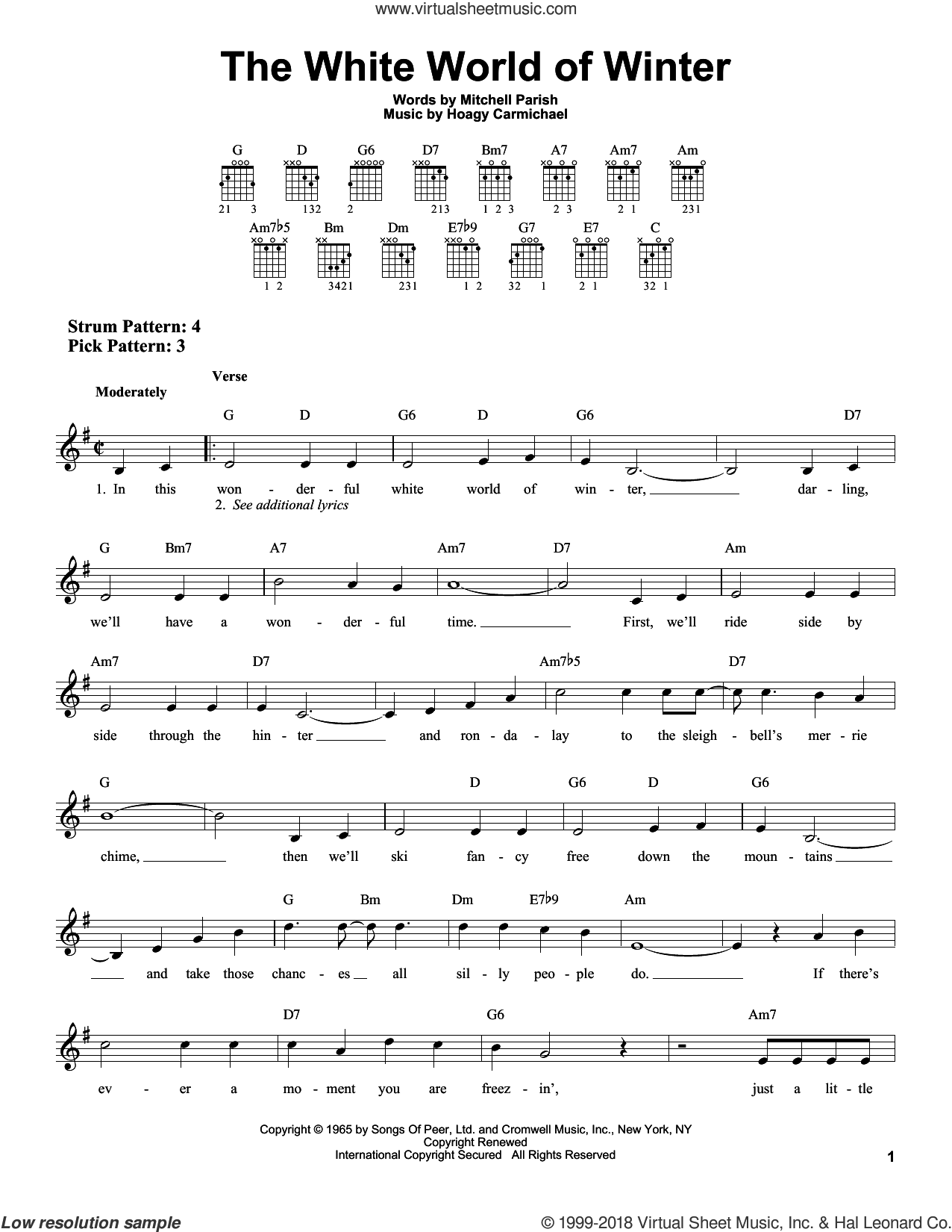 The White World Of Winter sheet music for guitar solo (chords) by Mitchell Parish and Hoagy Carmichael, easy guitar (chords)