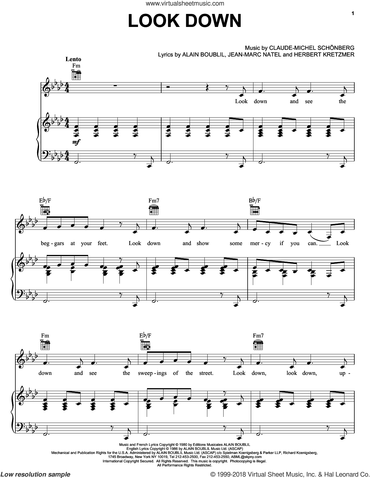 Look Down sheet music for voice, piano or guitar by Alain Boublil, Les Miserables (Musical), Claude-Michel Schonberg and Herbert Kretzmer, intermediate skill level