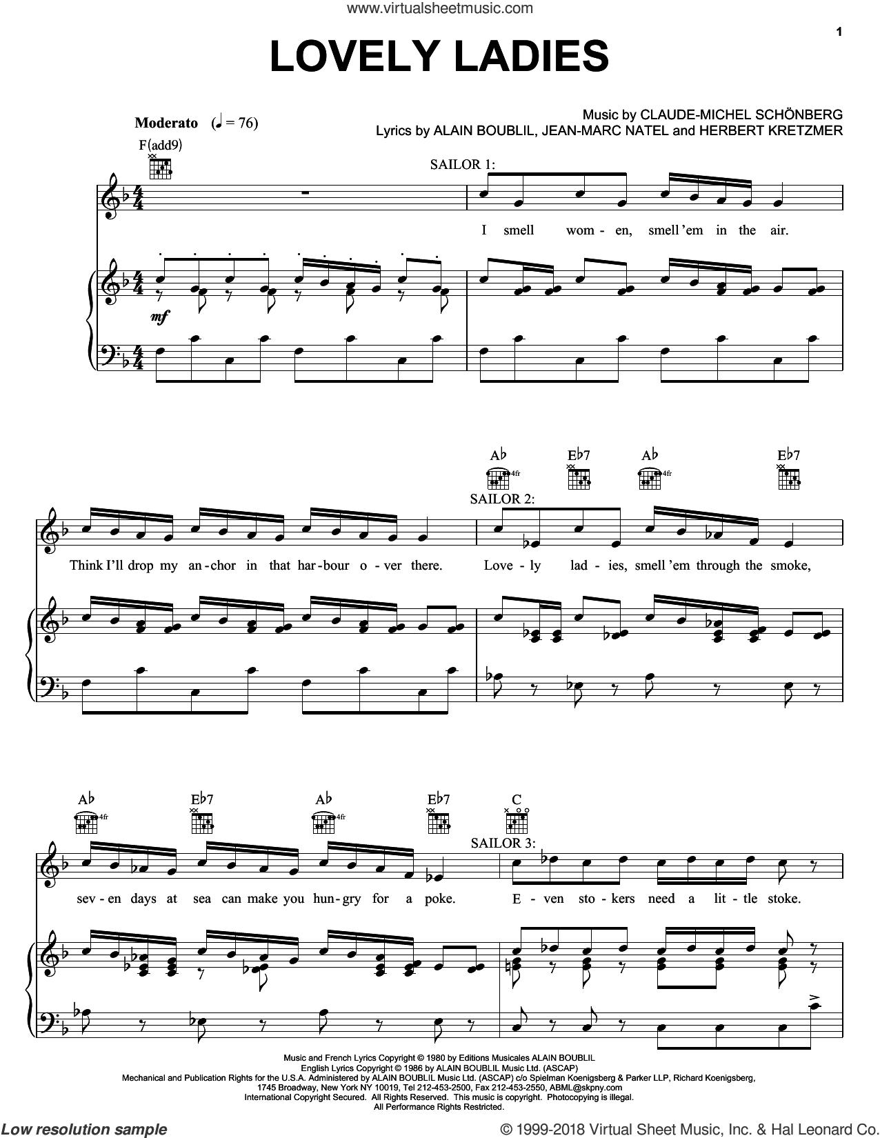 Lovely Ladies sheet music for voice, piano or guitar by Alain Boublil, Les Miserables (Musical), Herbert Kretzmer and Jean-Marc Natel, intermediate skill level