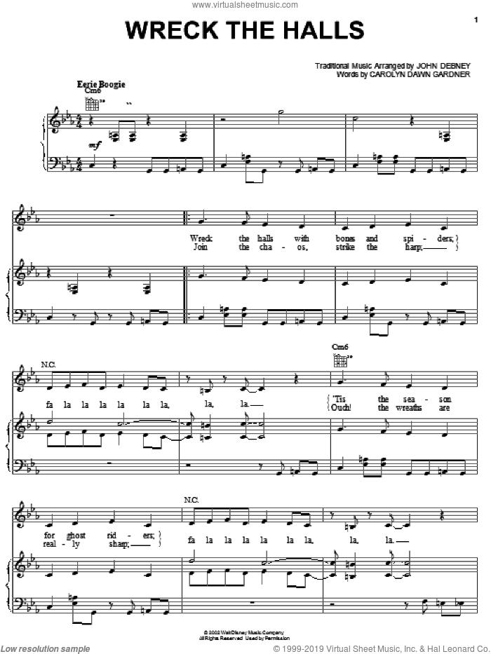 Wreck The Halls sheet music for voice, piano or guitar by John Debney and Carolyn Gardner, intermediate skill level