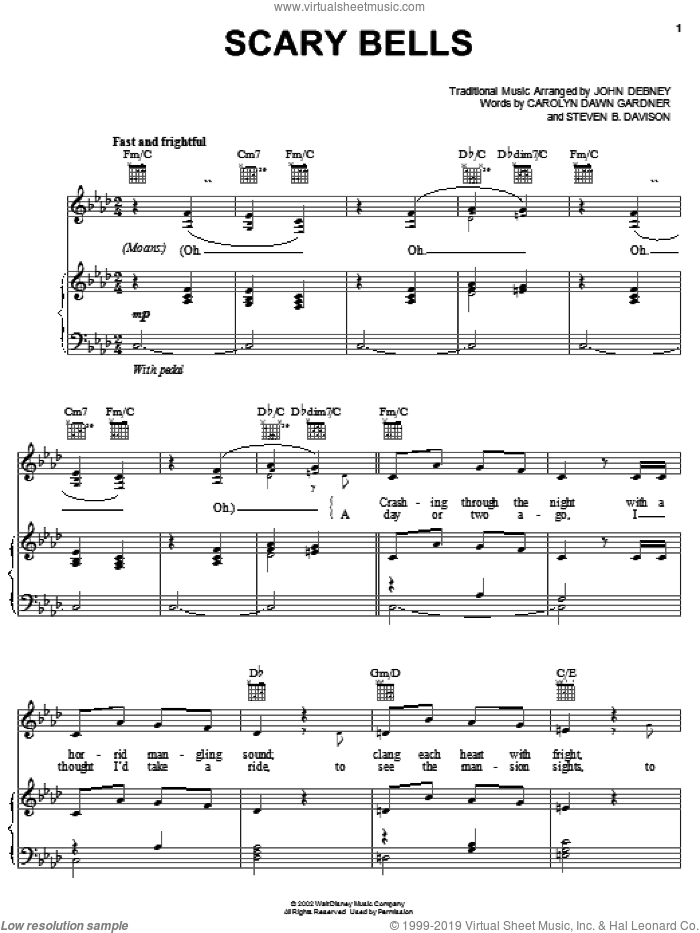 Scary Bells sheet music for voice, piano or guitar by John Debney, Carolyn Gardner and Steven B. Davison, intermediate skill level