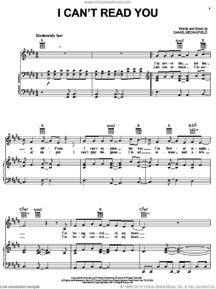 I Can't Read You sheet music for voice, piano or guitar by Daniel Bedingfield. Score Image Preview.