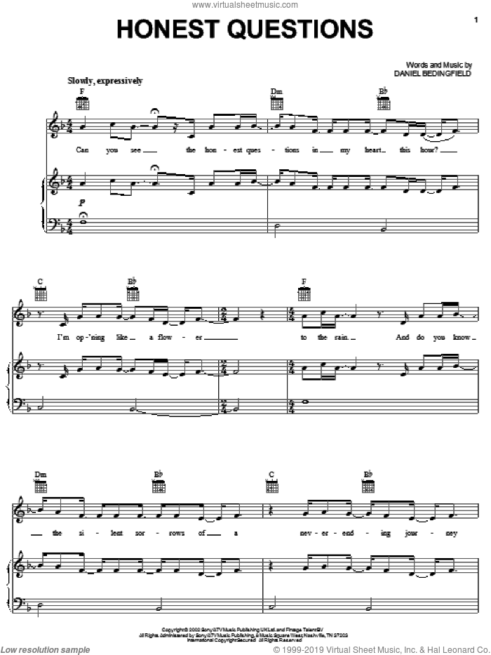 Honest Questions sheet music for voice, piano or guitar by Daniel Bedingfield. Score Image Preview.