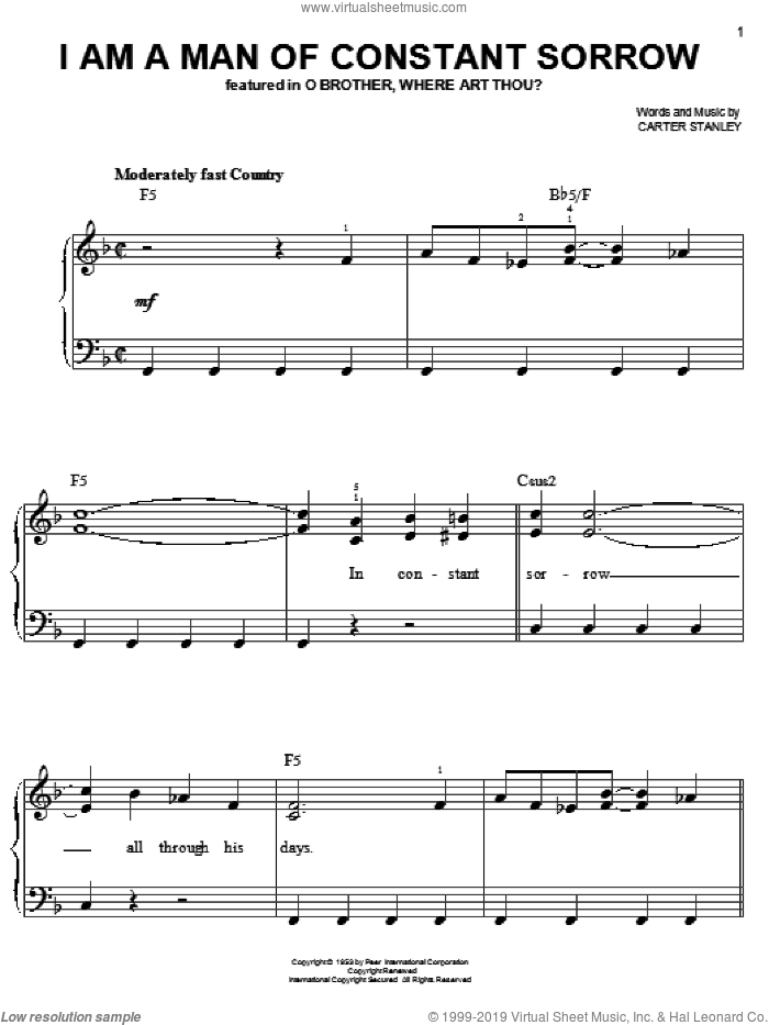 I Am A Man Of Constant Sorrow sheet music for piano solo by The Soggy Bottom Boys and Carter Stanley, easy. Score Image Preview.