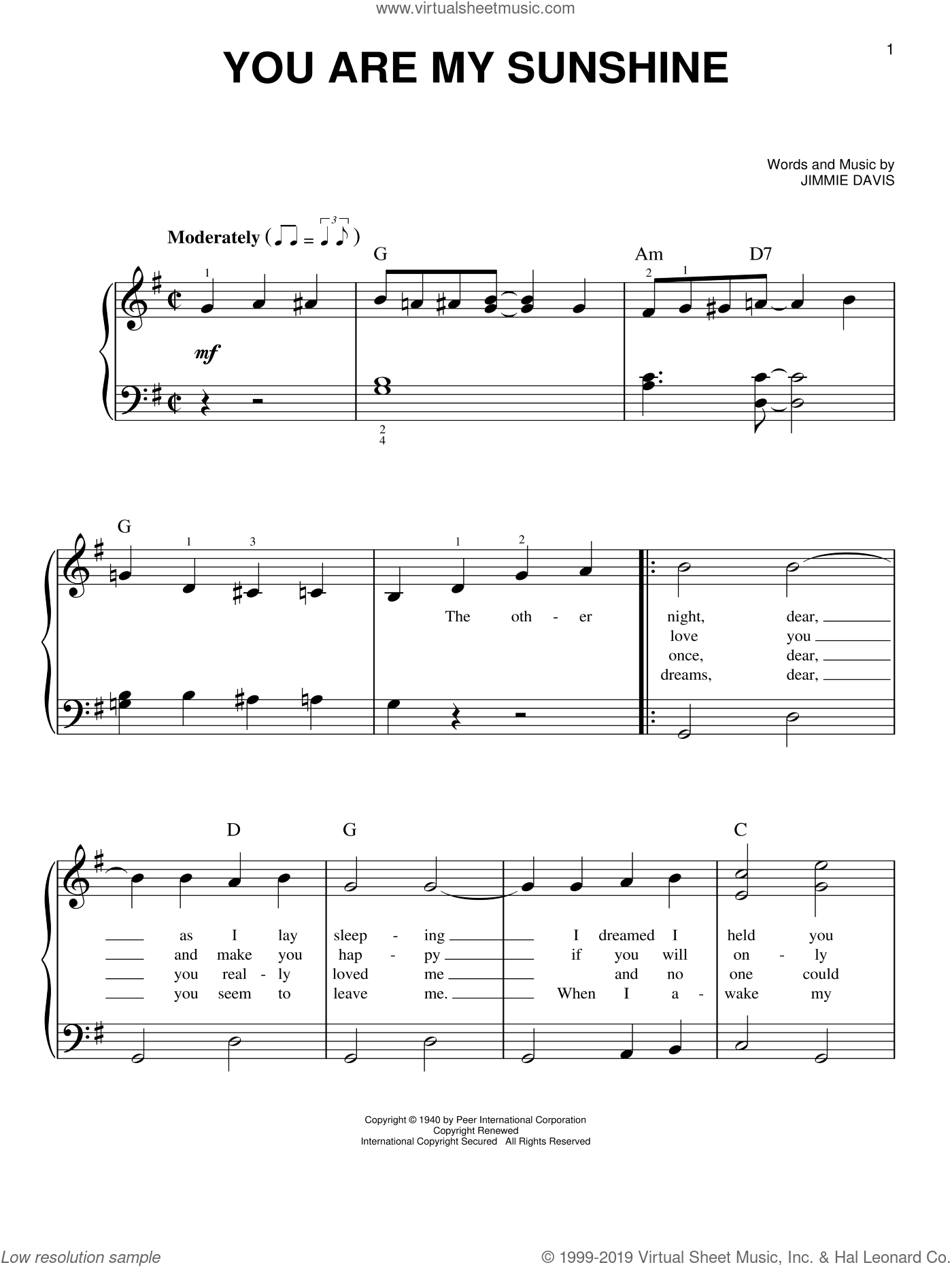 You Are My Sunshine sheet music for piano solo by Charles Mitchell and Jimmie Davis. Score Image Preview.