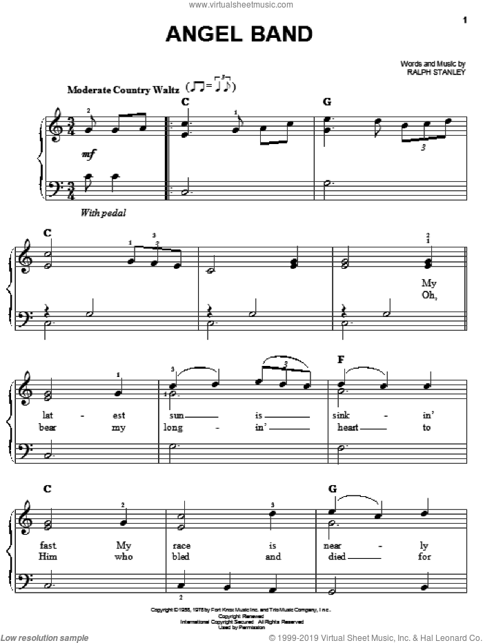 Angel Band sheet music for piano solo by The Stanley Brothers, O Brother, Where Art Thou? (Movie) and Ralph Stanley, easy skill level