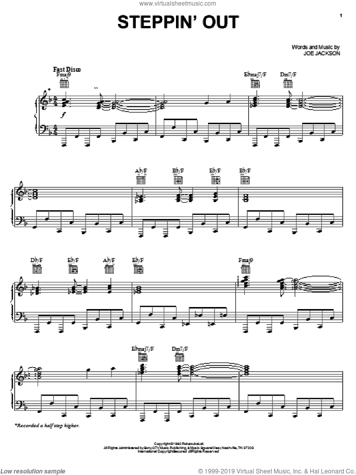 Steppin' Out sheet music for voice, piano or guitar by Joe Jackson