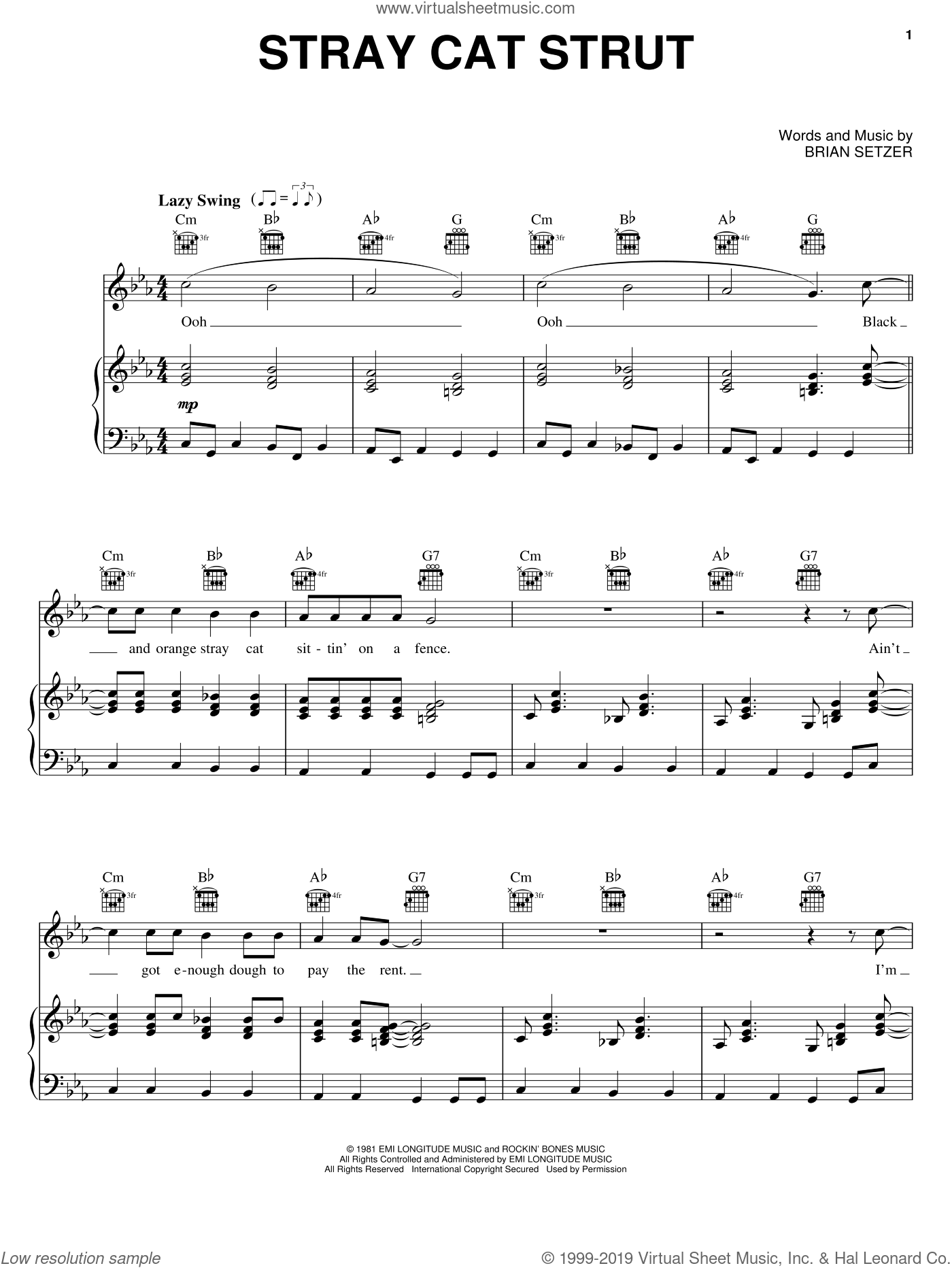 Stray Cat Strut sheet music for voice, piano or guitar by Stray Cats and Brian Setzer. Score Image Preview.