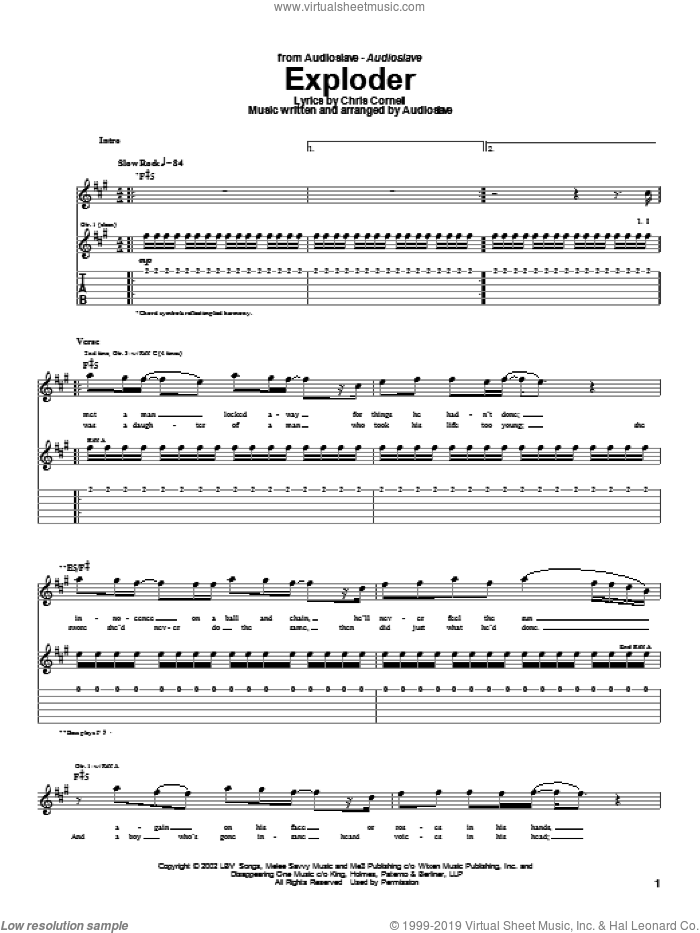 Exploder sheet music for guitar (tablature) by Audioslave and Chris Cornell, intermediate