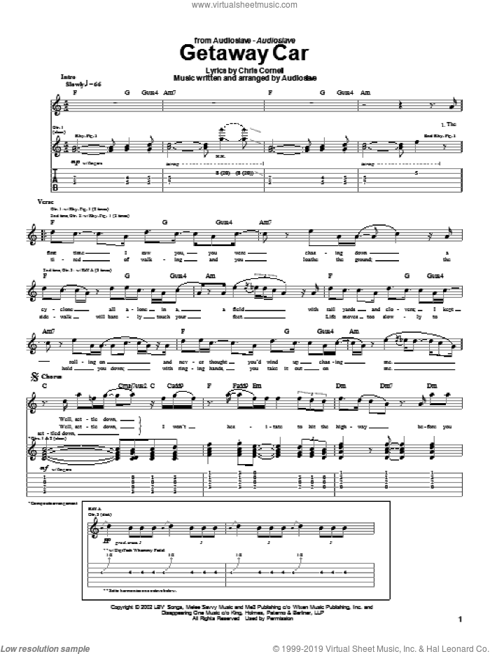 Getaway Car sheet music for guitar (tablature) by Audioslave and Chris Cornell, intermediate. Score Image Preview.