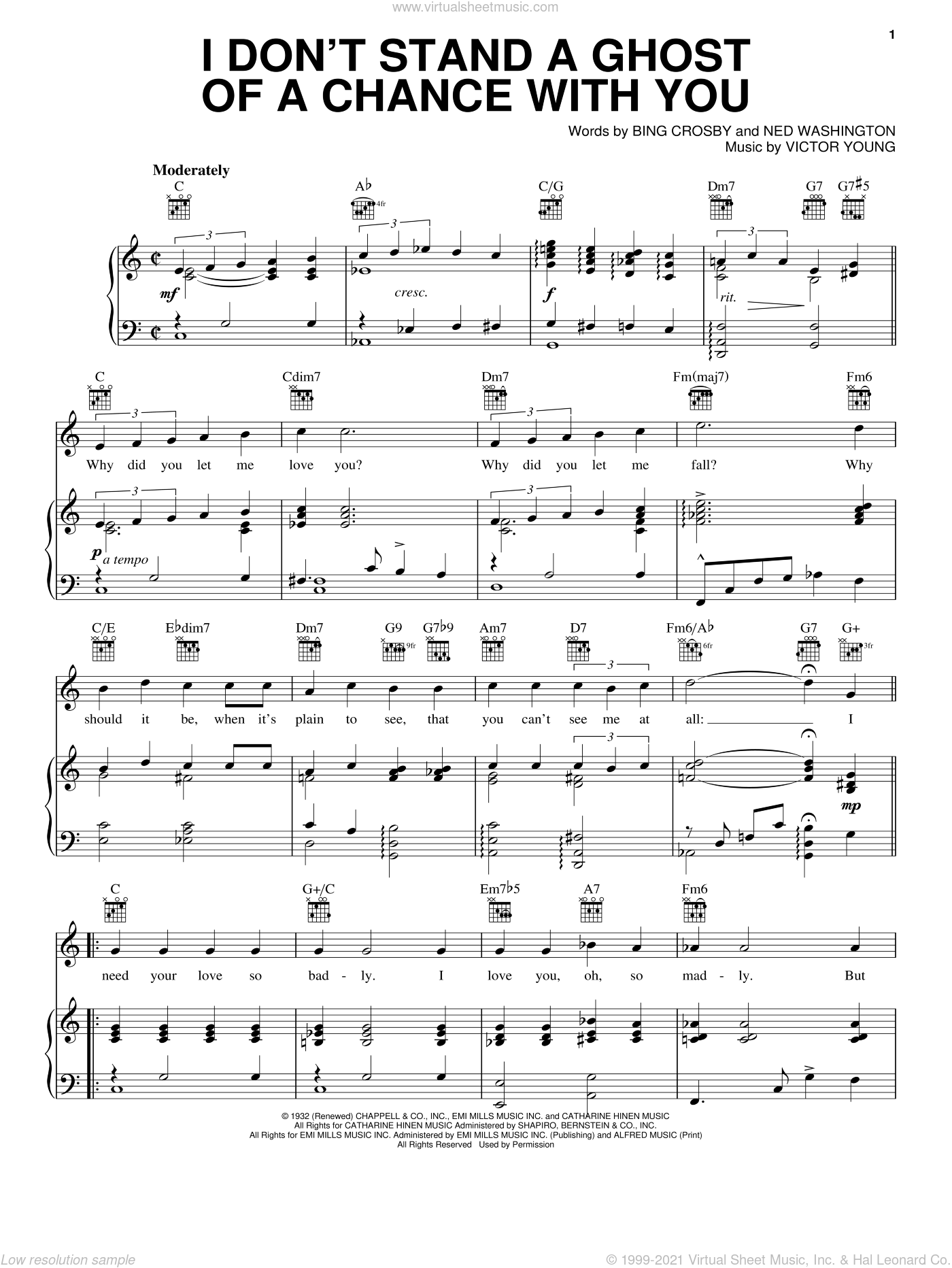 I Don't Stand A Ghost Of A Chance sheet music for voice, piano or guitar by Bing Crosby, Ned Washington and Victor Young, intermediate skill level