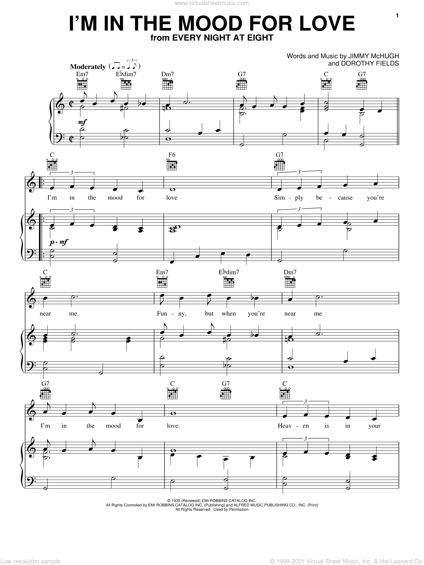 I'm In The Mood For Love sheet music for voice, piano or guitar by Frank Sinatra, Louis Armstrong, Nat King Cole, Dorothy Fields and Jimmy McHugh, intermediate skill level