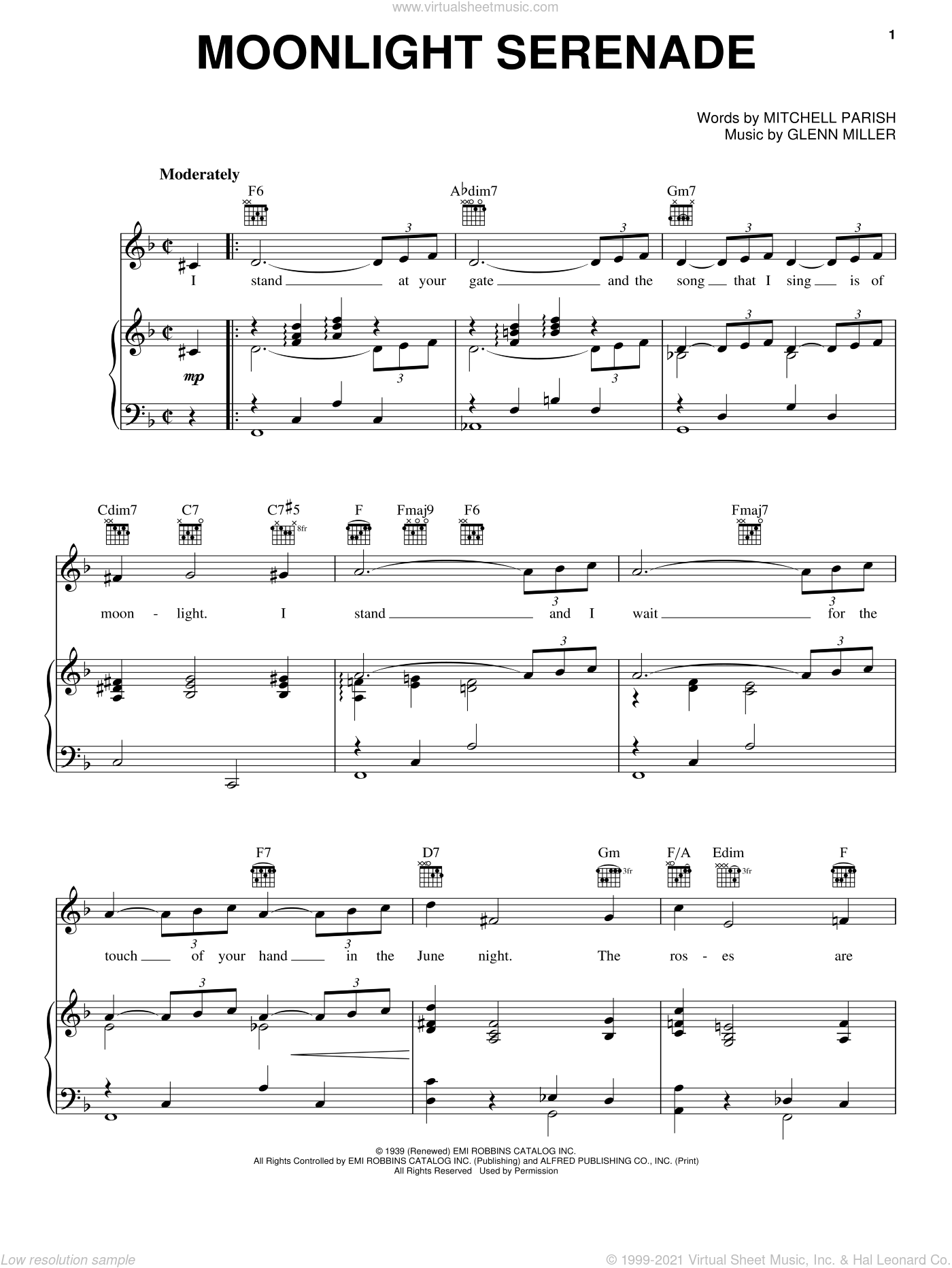 Moonlight Serenade sheet music for voice, piano or guitar by Mitchell Parish