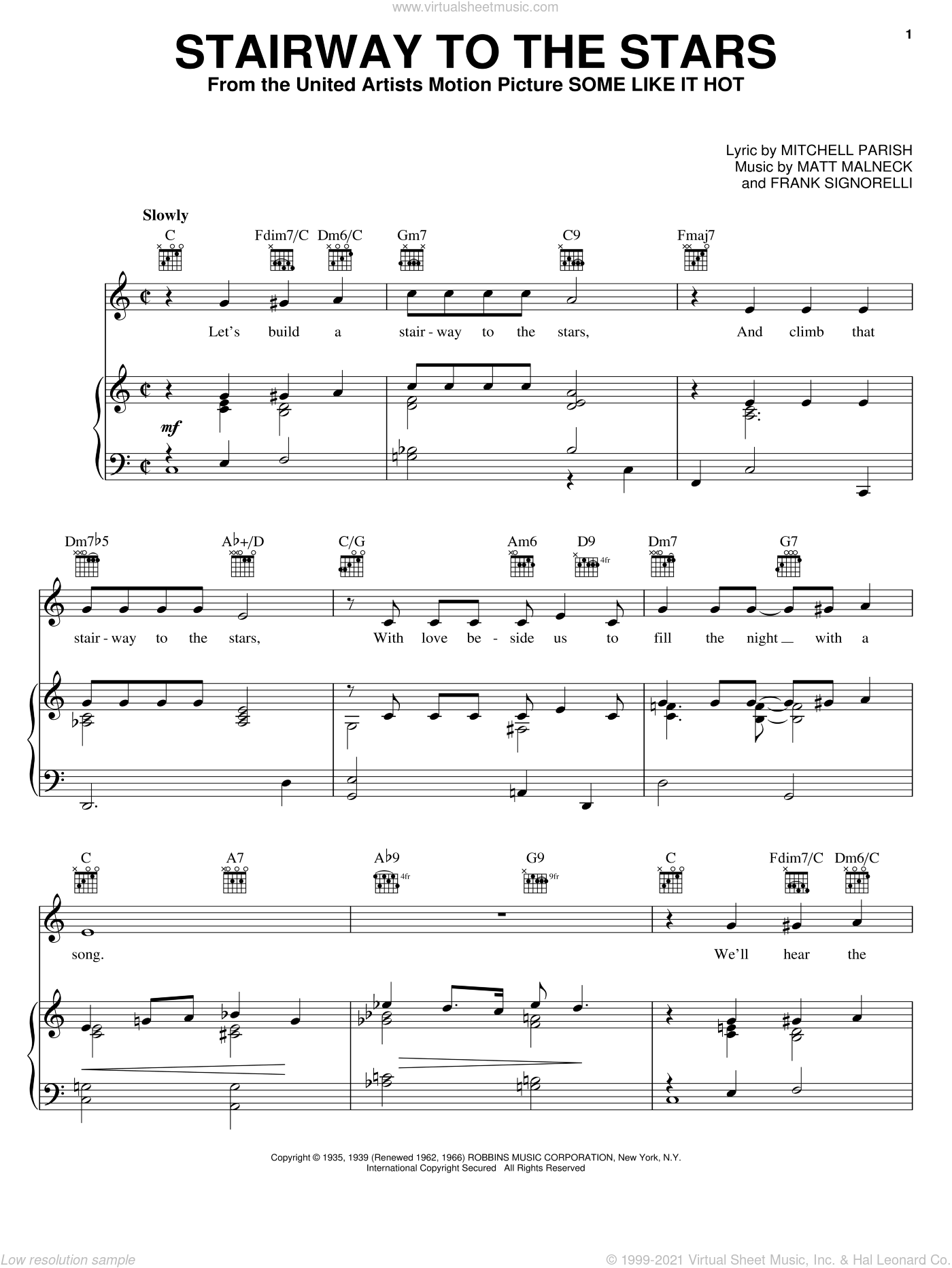 Stairway To The Stars sheet music for voice, piano or guitar by Ella Fitzgerald, Glenn Miller, Natalie Cole, Frank Signorelli, Matt Malneck and Mitchell Parish, intermediate skill level