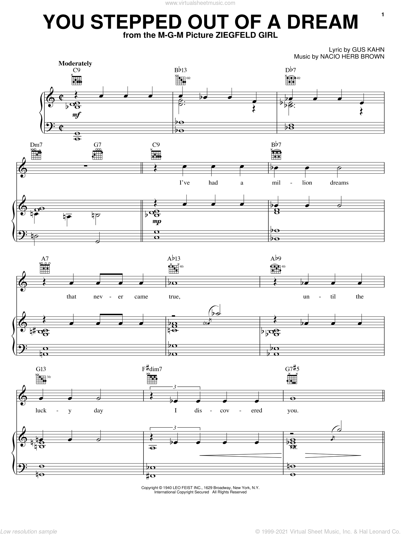 You Stepped Out Of A Dream sheet music for voice, piano or guitar by Sarah Vaughan, Glenn Miller, Nat King Cole, Gus Kahn and Nacio Herb Brown, intermediate skill level