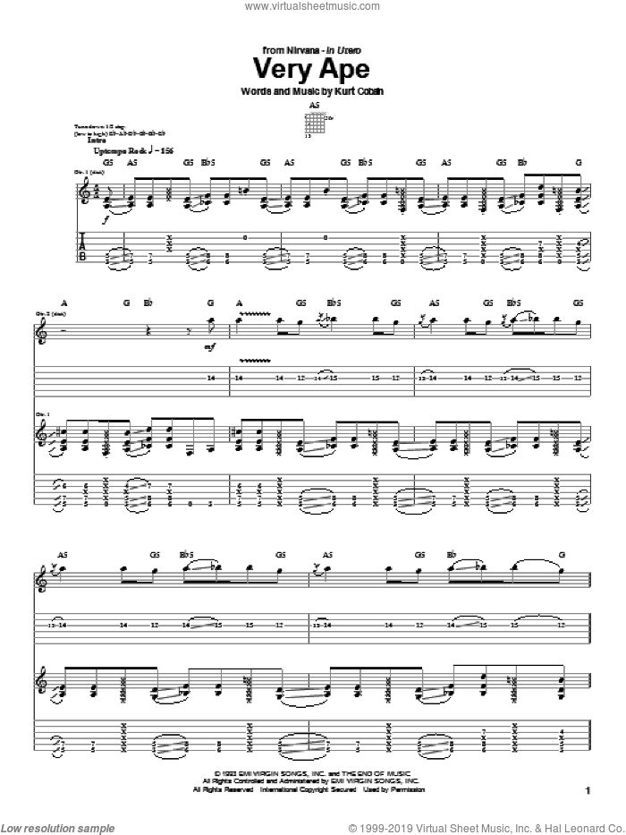 Very Ape sheet music for guitar (tablature) by Kurt Cobain and Nirvana. Score Image Preview.
