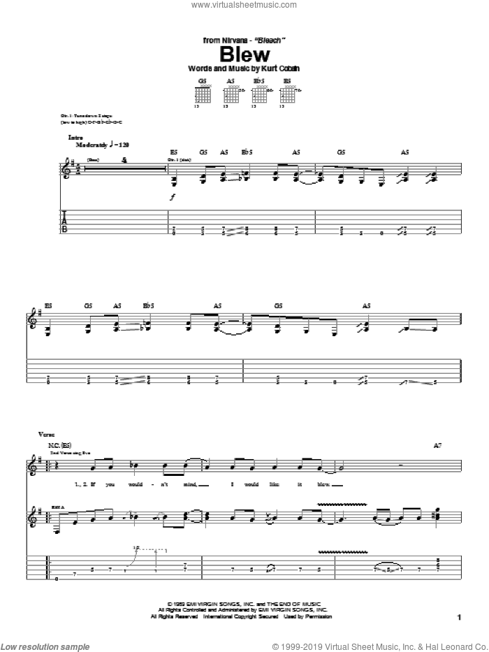 Blew sheet music for guitar (tablature) by Nirvana and Kurt Cobain, intermediate skill level