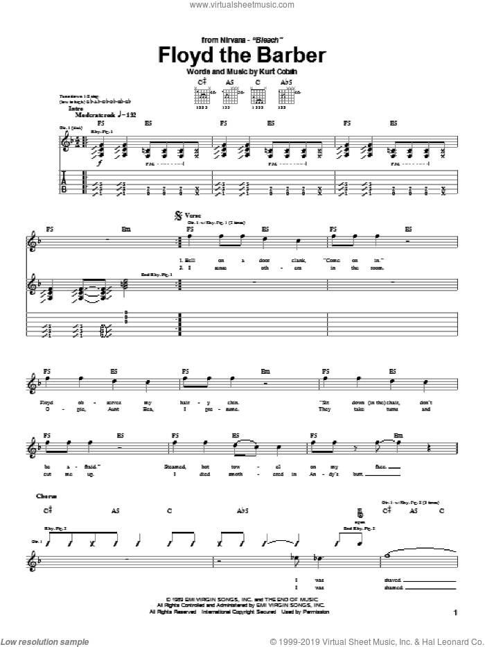 Floyd The Barber sheet music for guitar (tablature) by Nirvana. Score Image Preview.