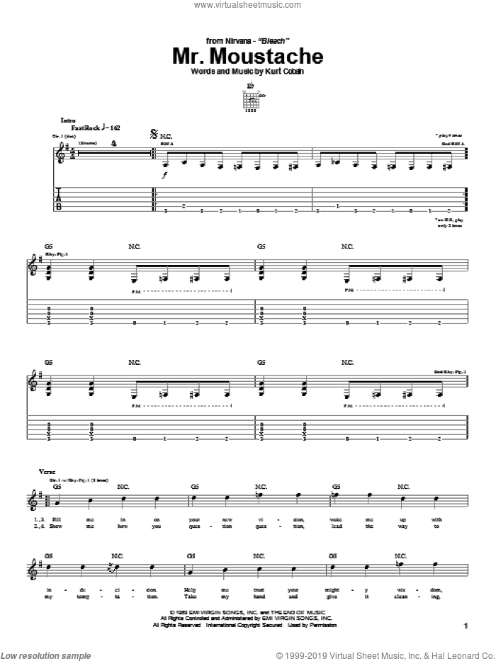 Mr. Moustache sheet music for guitar (tablature) by Kurt Cobain and Nirvana. Score Image Preview.