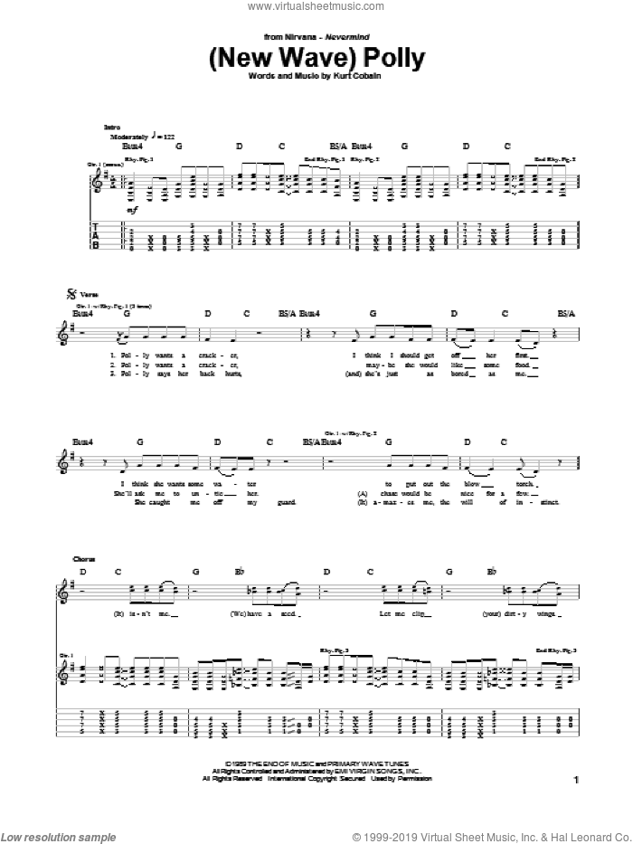 (New Wave) Polly sheet music for guitar (tablature) by Nirvana and Kurt Cobain, intermediate skill level