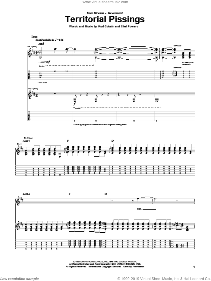Territorial Pissings sheet music for guitar (tablature) by Kurt Cobain