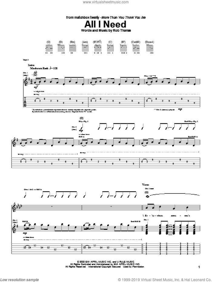All I Need sheet music for guitar (tablature) by Rob Thomas and Matchbox Twenty. Score Image Preview.