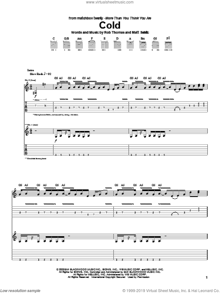 Cold sheet music for guitar (tablature) by Rob Thomas