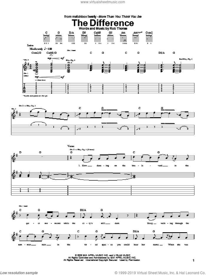 The Difference sheet music for guitar (tablature) by Rob Thomas and Matchbox Twenty. Score Image Preview.