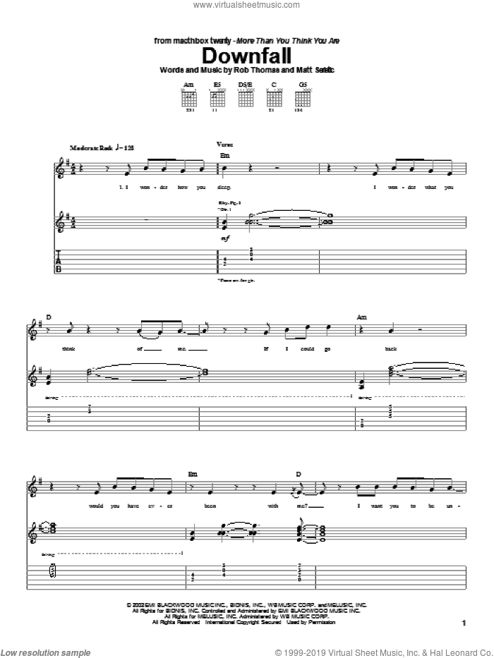 Downfall sheet music for guitar (tablature) by Matchbox Twenty, Matchbox 20, Matt Serletic and Rob Thomas, intermediate. Score Image Preview.
