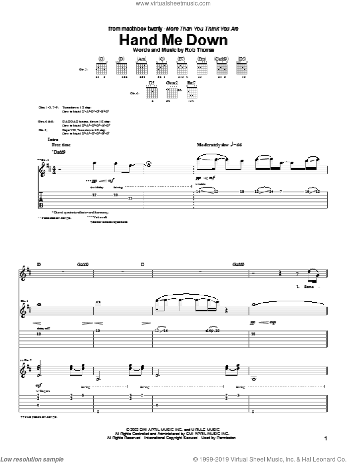 Hand Me Down sheet music for guitar (tablature) by Rob Thomas and Matchbox Twenty. Score Image Preview.