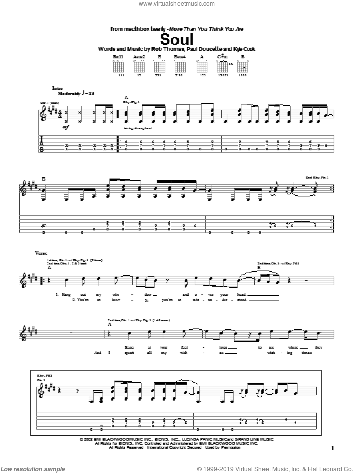 Soul sheet music for guitar (tablature) by Rob Thomas and Matchbox Twenty. Score Image Preview.