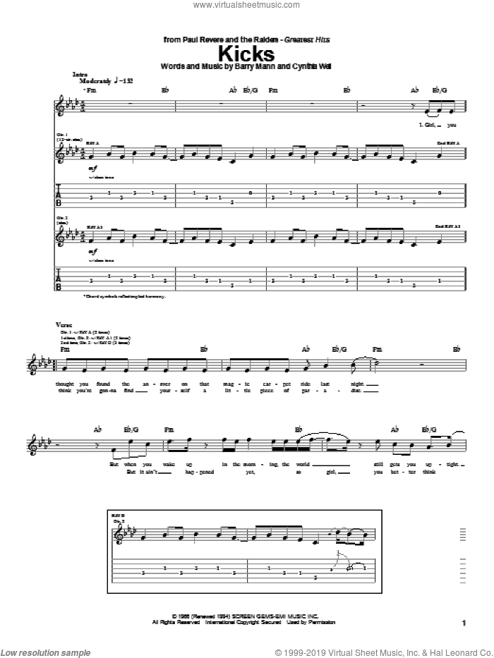 Kicks sheet music for guitar (tablature) by Paul Revere & The Raiders, Barry Mann and Cynthia Weil. Score Image Preview.