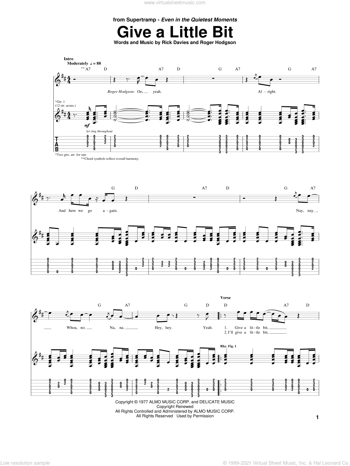 Give A Little Bit sheet music for guitar (tablature) by Supertramp, Rick Davies and Roger Hodgson, intermediate skill level