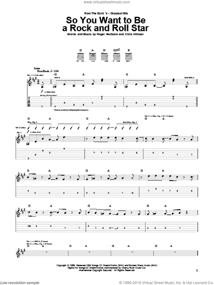 So You Want To Be A Rock And Roll Star sheet music for guitar (tablature) by The Byrds, intermediate guitar (tablature). Score Image Preview.