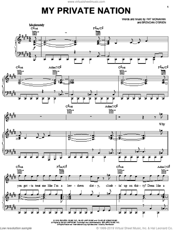 My Private Nation sheet music for voice, piano or guitar by Train and Pat Monahan, intermediate. Score Image Preview.