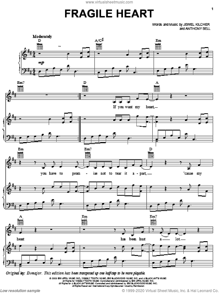 Fragile Heart sheet music for voice, piano or guitar by Jewel Kilcher