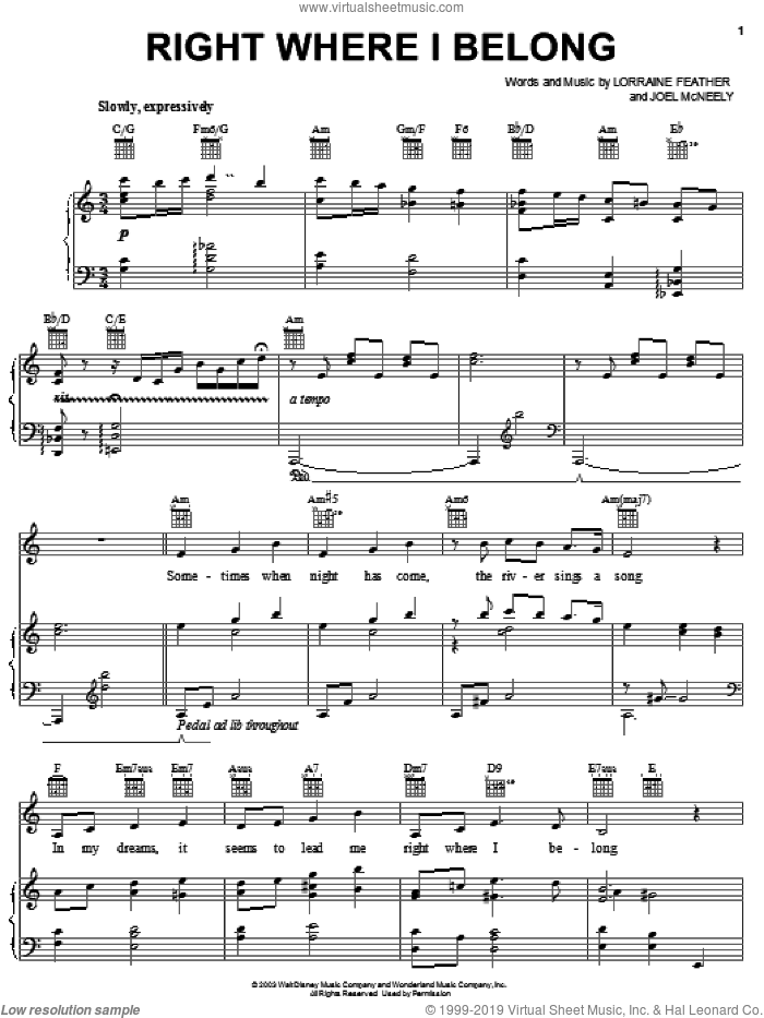 Right Where I Belong sheet music for voice, piano or guitar by Joel McNeely and Lorraine Feather. Score Image Preview.