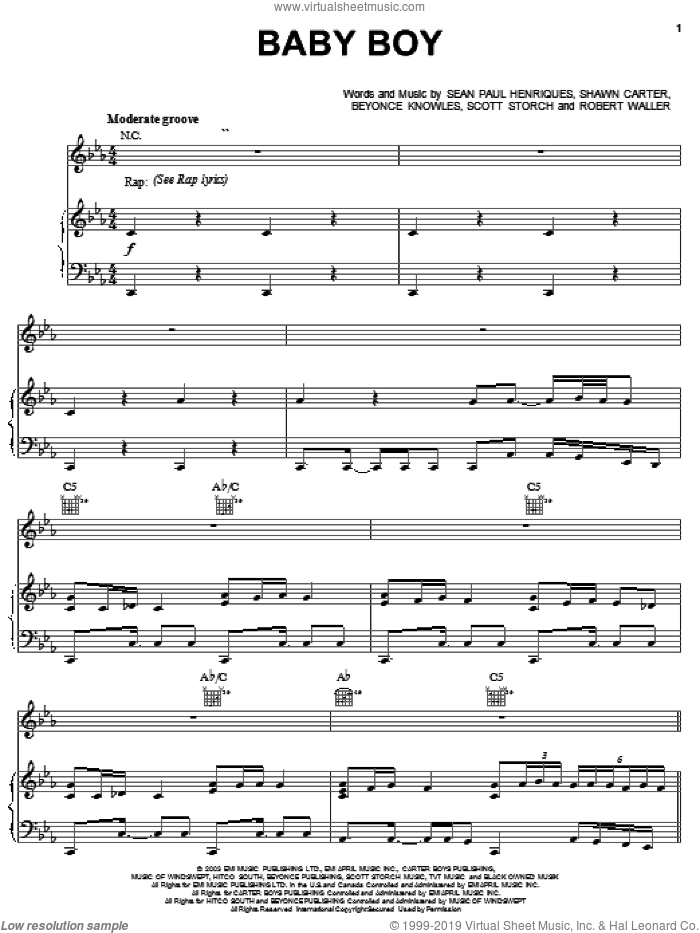 Baby Boy sheet music for voice, piano or guitar by Beyonce, Sean Paul, Sean Paul Henriques and Shawn Carter, intermediate skill level